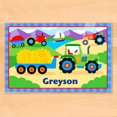 Olive Kids Trains, Planes and Trucks Tractor Personalized Placemat