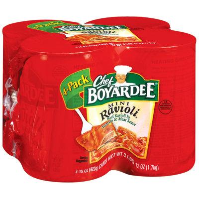 Chef Boyardee Mini Beef In Tomato & Meat Sauce 15 Oz Ravioli 4 Pk Pull-Top Cans