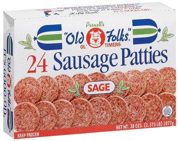Purnell's Old Folks Ol' Timers Sage 38 Ozs Sausage Patties 24 Ct Box