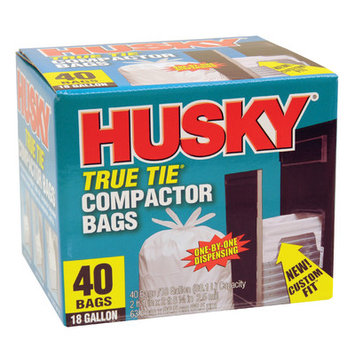 Poly America Husky HK18WC040W 18-Gallon True Tie Compactor Bags, 40 Count