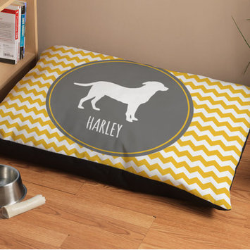 Checkerboard Personalized Labrador Chevron Pattern Dog Bed