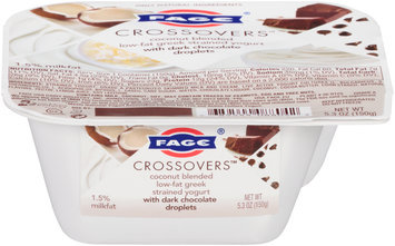 Fage® Crossovers™ Coconut Blended Low-Fat Greek Strained Yogurt with Dark Chocolate Droplets 5.3 oz. Cup
