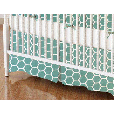Stwd Honeycomb Crib Skirt Color: Seafoam Blue