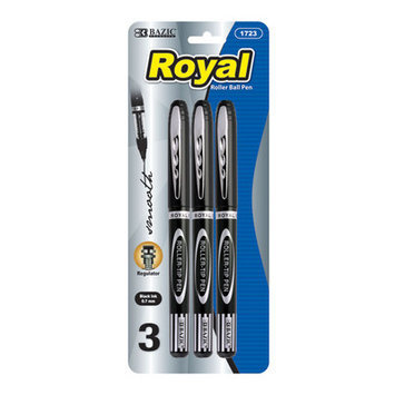 Bazic Royal Black Rollerball Pen - 3/Pack(Case of 144)