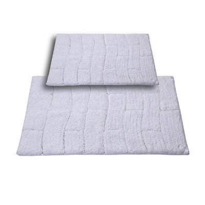 Textile Decor Castle 2 Piece 100% Cotton New Tile Spray Latex Bath Rug Set, 30 H X 20 W and 40 H X 24 W, White