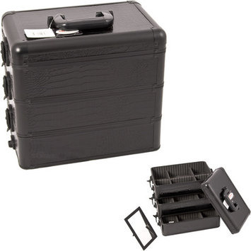 Sunrise E3303CRAB All Black Crocodile Pro Makeup Case