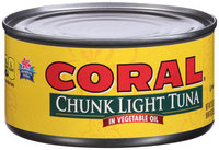 Coral® Chunk Light Tuna in Vegetable Oil 12 oz. Can