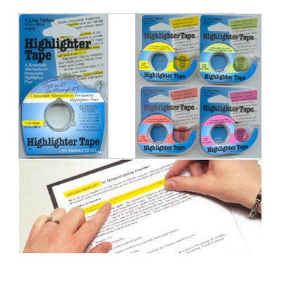 Lee Products Company LEE13888 Removable Highlighter Tape - 1 Roll Each of Six Colors