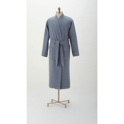 Coyuchi Pebbled Terry Robe Color: Pale Gray Blue, Size: Small / Medium