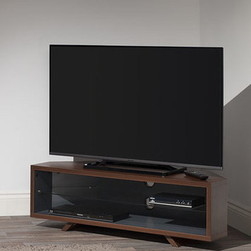 Techlink DL115WSG Walnut & Satin Grey Corner TV Stand - Screens up.