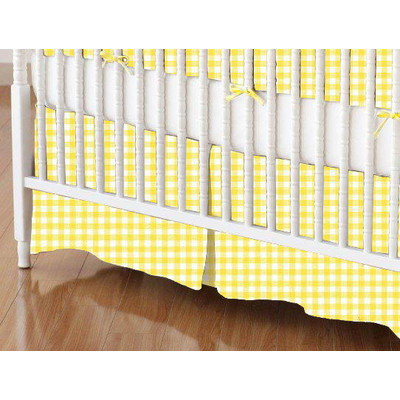 Stwd Primary Gingham Woven Crib Skirt Color: Yellow
