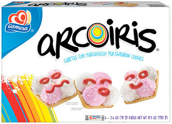 Gamesa Marshmallow Cookies 6 Packs Arcoiris 15.52 Oz Package