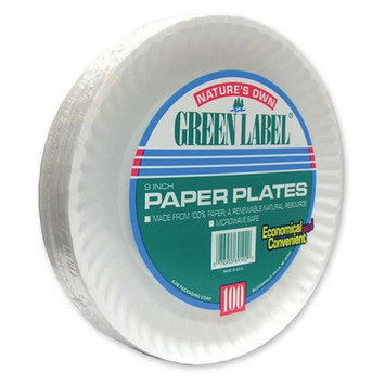 Ajm Packaging Corporation Paper Plates, Green Label, 9