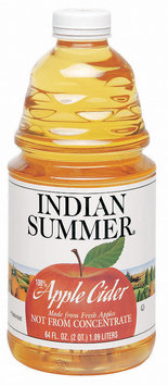 Indian Summer Not from Concentrate 100% Pasteurized Apple Cider Fresh UPC 41760 39390 64 Oz Plastic Bottle