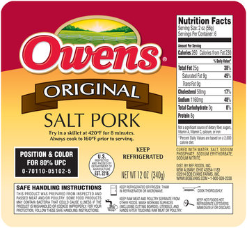 Owens® Original Salt Pork 12 oz. Tray
