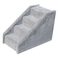 Animal Stuff Bear's Stairstm Four-Step Tiny Carpeted Pet Stairs - Color: Gray