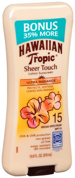 Hawaiian Tropic® Sheer Touch Ultra Radiance Broad Spectrum SPF 15 Lotion Sunscreen 10.8 fl. oz. Bottle