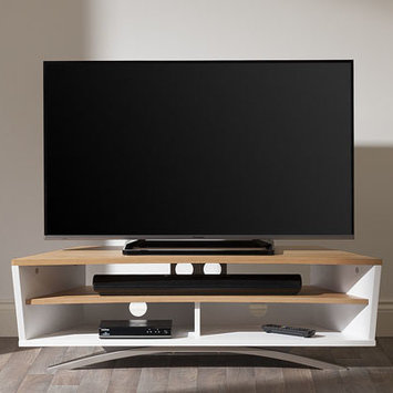 Techlink PR130SWLO Prisma Satin White & Light Oak TV Stand.