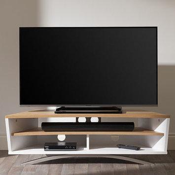 Techlink PR130SWLO Prisma Satin White & Light Oak TV Stand.