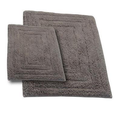 Textile Decor Castle 2 Piece 100% Cotton Racetrack Spray Latex Bath Rug Set, 24 H X 17 W and 34 H X 21 W