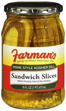 Farman's®Home Style Kosher Dill Sandwich Slices 16 fl oz Jar