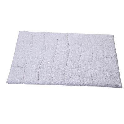 Textile Decor Castle 100% Cotton New Tile Spray Latex Back Bath Rug, 40 H X 24 W, White