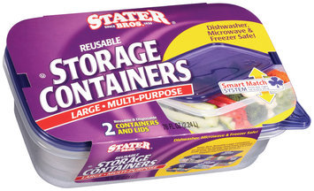 Stater Bros. Large Multi-Purpose Reusable W/Lids Storage Containers 2 Ct Sleeve