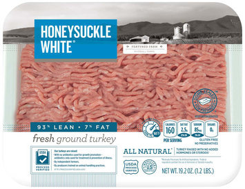 Honeysuckle White Fresh 93% Ground Turkey Pre-priced Exact Weight 1.2 lb 6P