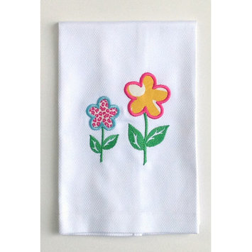 Samantha Grace Designs Egyptian Cotton Huck Towel with Spring Flowers Applique