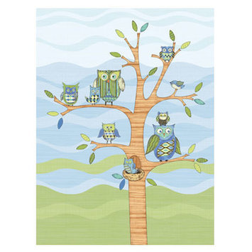 4 Walls Owl Wall Mural Color: Blue