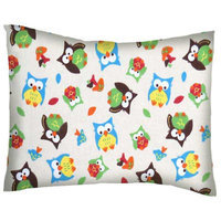 Stwd Owls Cotton Flannel Crib/Toddler Pillow Case