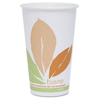 SOLO Cup Company Bare PLA Hot Cups, White w/Leaf Design, 16oz, 300/Carton