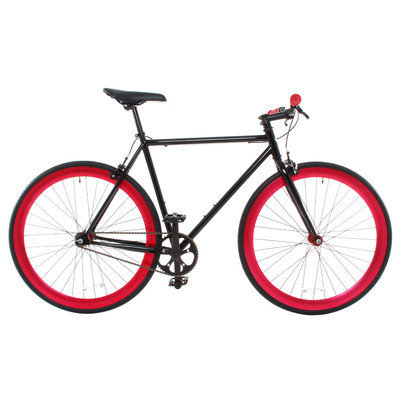 Vilano Rampage Fixed Gear Bike Fixie Single Speed Road Bike Black / Red Small 50cm