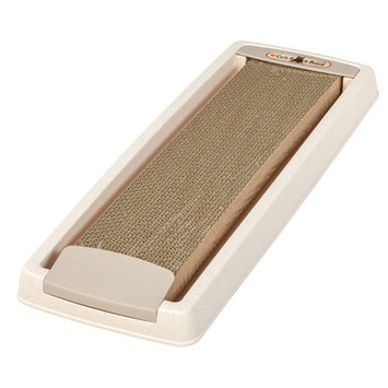 Iris Cat Scratching Board with Tray Color: Ivory