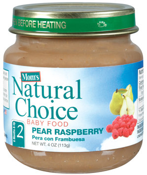 Mom's Natural Choice Baby Food Pear Raspberry 4 oz Jar