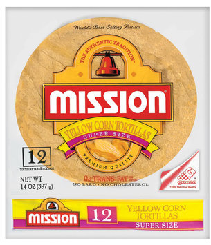 Mission Yellow Corn Super Size 12 Ct Tortillas 14 Oz Bag