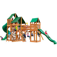 Gorilla Playsets Playground Equipment. Treasure Trove with Amber Posts and Sunbrella Canvas Forest Green Canopy Cedar Playset