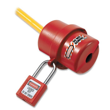 Master Lock Plug Lockout, red,9/16in Shackle Dia. 487 3vae3