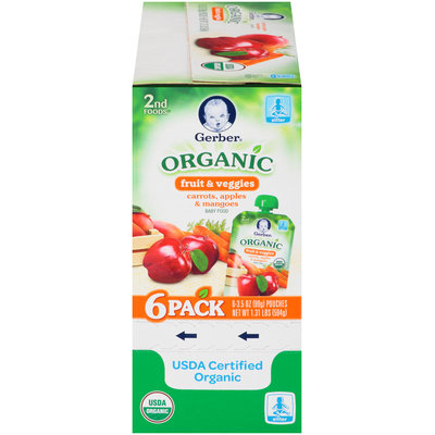 Gerber® Organic 2nd Foods® Fruit & Veggies Carrots, Apples & Mangoes Baby Food 6-3.5 oz. Pouches
