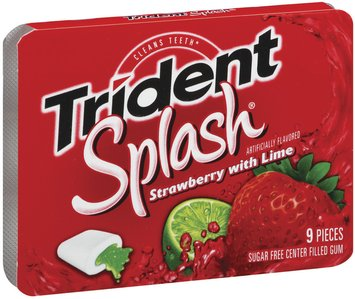Trident Splash Strawberry W/Lime Sugar Free Center Filled Gum 9 Pieces 1 Pk Sleeve