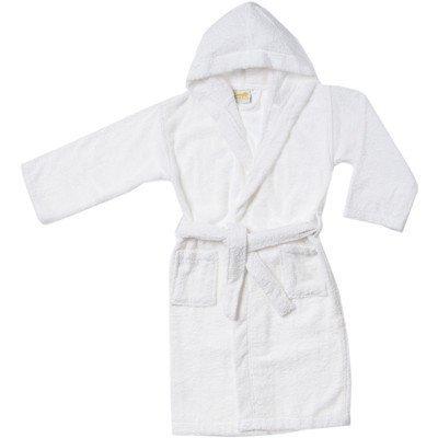 Simple Luxury Egyptian Cotton Kids Hooded Bathrobe, Large, White