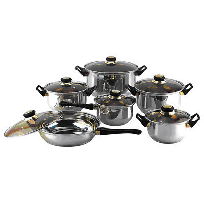 Trimmer Gourmet Chef 12 Piece Cookware Set with Wood Bakelite Handles and Knobs
