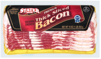 Stater Bros. Thick Sliced Hickory Smoked Bacon 16 Oz Package