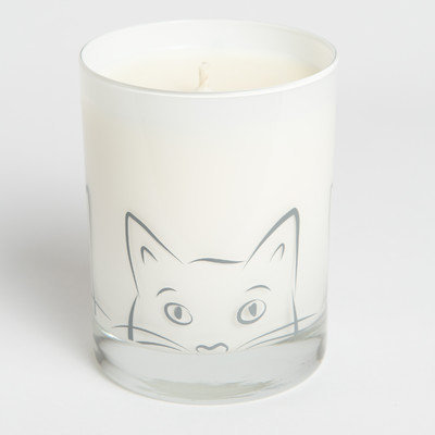 Acadian Candle 14073 Nelli Design Candle with Large Cat Gray