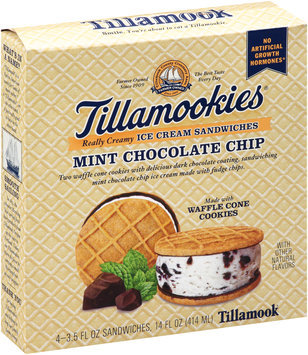 Tillamook® Tillamookies® Mint Chocolate Chip Really Creamy Ice Cream Sandwiches 4-3.5 fl. oz. Box