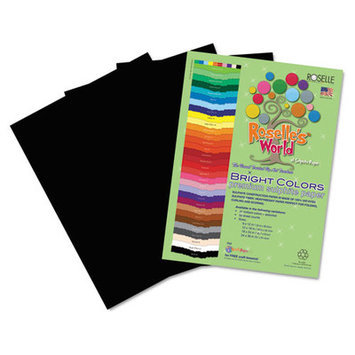 Roselle Paper Co 70601 Premium Sulphite Construction Paper 76 Lbs. 9 X 12 Black 50/pack