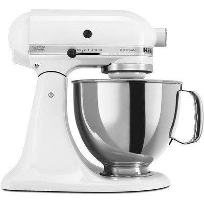 KitchenAid Artisan Series 5 qt. Stand Mixer in White with Additional Glass Bowl KSM150PSWH 3 KIT