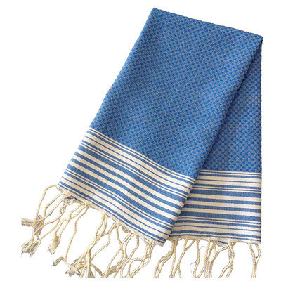 Scents And Feel Honey Comb Fouta Hand Towel (Set of 2) Color: Blue Jeans / White