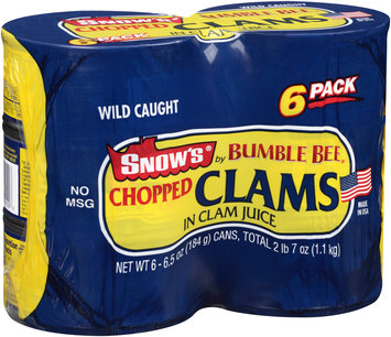 Bumble Bee® Snow's® Chopped Clams in Clam Juice 6-6.5 oz. Cans