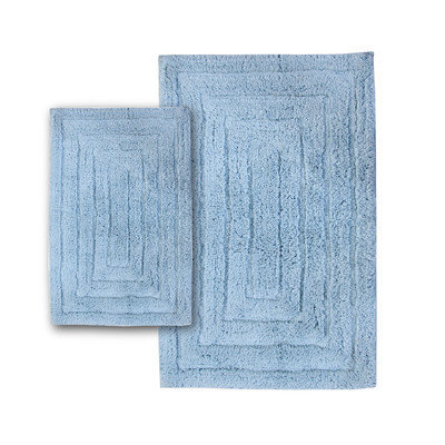 Textile Decor Castle 2 Piece 100% Cotton Racetrack Spray Latex Bath Rug Set, 30 H X 20 W and 40 H X 24 W